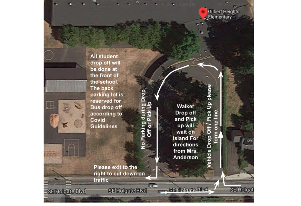 Google Map Image of how Parents are to drop off students while maintaining Covid Guidelines.